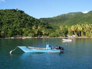 boat on the water in Guadeloupe